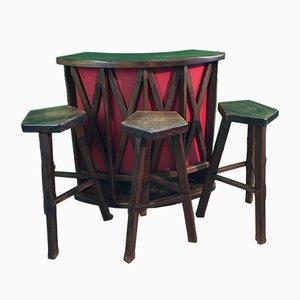 Mesa de bar brutalista con tres taburetes, años 60. Juego de 4
