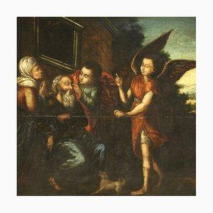 Antique Religious Panel Painting, 17th-Century