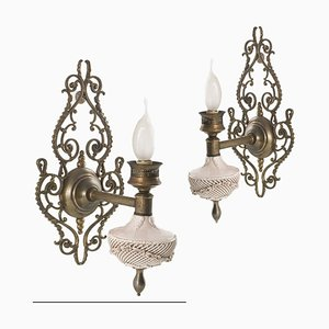 Venezianische Wandlampen aus Porzellan, Messing & Bronze, 1920er, 2er Set
