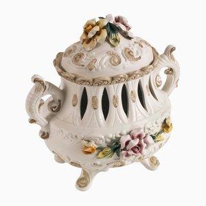 Centrotavola in ceramica decorata a mano di Capodimonte, anni '20