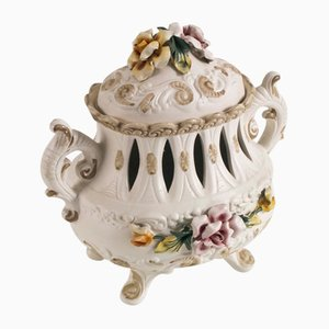 Milieu de Table en Céramique Décoré à la Main de Capodimonte, 1920s