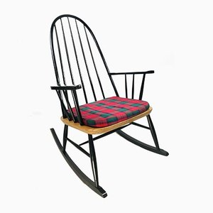 Vintage Scandinavian Black Beech & Oak Rocking Chair, 1960s