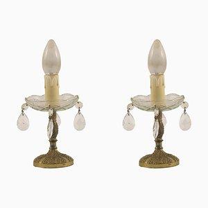 Lampade antiche in bronzo dorato di Liberty, set di 2