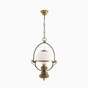 Deckenlampe aus Opalglas & gedrechseltem Holz, 1930er