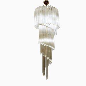 Lámpara de araña italiana en forma de espiral de cristal de Murano de Venini, años 70