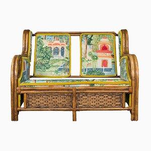 Sofá estilo inglés de bambú, años 70