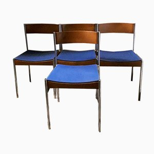 German Chromed Tubular Steel & Teak Stacking Chairs with Blue Fabric Upholstery from Casala, 1960s, Set of 4