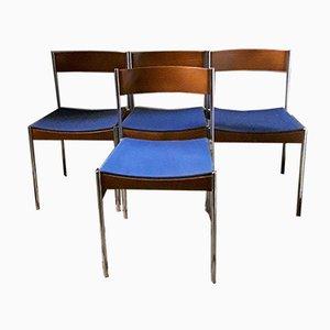 Sillas apilables alemanas de teca y acero tubular cromado con tapicería de tela azul de Casala, años 60. Juego de 4