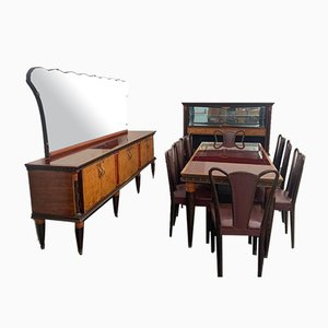 Rosewood & Maple Burl Dining Room Set, 1956, Set of 12