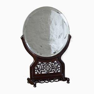 Espejo de pie chino de madera con espejo circular biselado, años 20