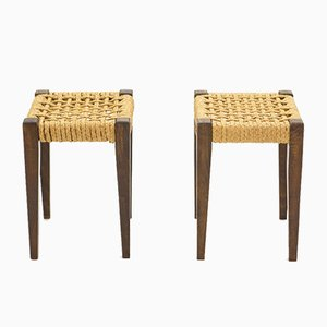 Stained Oak & Rope Stools by Adrien Audoux & Frida Minet, 1950s, Set of 2