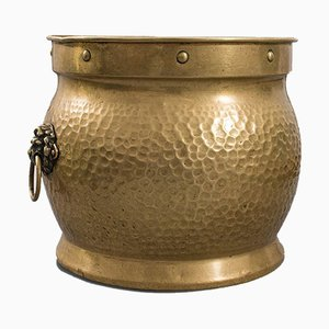 Antique English Brass Fireside Container, Circa 1900