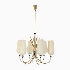 Lámpara de araña de latón de 6 luces, años 60