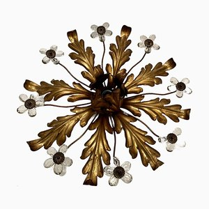 Gilt Tole & Murano Glass Flower Flush Mount Lamp, 1960s