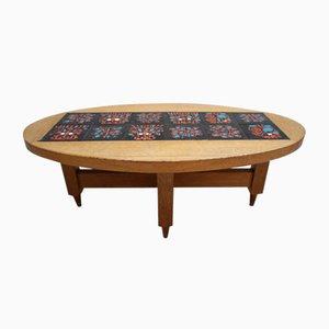 Table Basse en Chêne Clair et Céramique par Guillerme et Chambron, 1970s