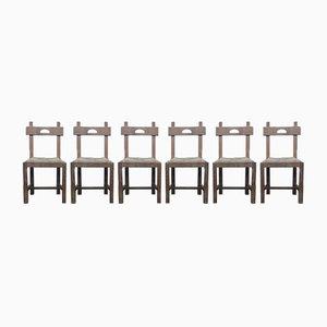 Brutalistische Eichenholz Esszimmerstühle mit Stroh Sitzen, 1960er, 6er Set