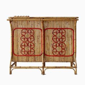 Italienischer Mid-Century Bartisch aus Bambus, 1950er