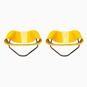 Italian Yellow Nastro CL9 Lounge Chairs by Cesare Leonardi & Franca Stagi for Bernini, 1960s, Set of 2
