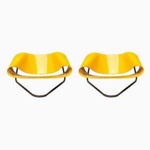 Italienische Gelbe Nastro CL9 Sessel von Cesare Leonardi & Franca Stagi für Bernini, 1960er, 2er Set