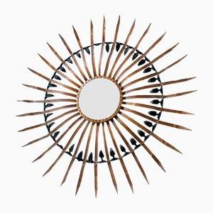 Espejo en forma de sol Mid-Century de metal