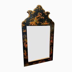 Small Antique Edwardian Ebonised Chinoiserie Wall Mirror