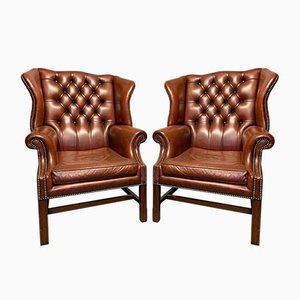 Georgian Style Leather Wing Lounge Chairs, 1920s, Set of 2