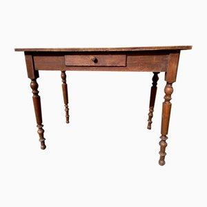 Antiker Tannenholz Bistrotisch mit 1 Schublade
