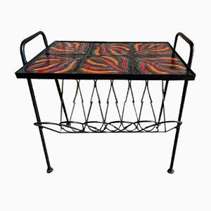 Table Basse en Céramique avec Porte-Revues, 1950s