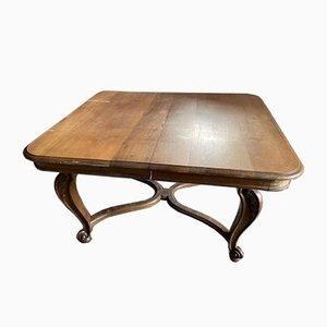 Mesa de comedor extensible estilo Luis XV antigua de nogal, década de 1900