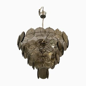 Large Smoke Grey Glass Disc Chandelier, 1970s