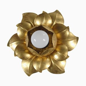 Italian Hollywood Regency Style Golden Sconce from W. Müller München, 1970s