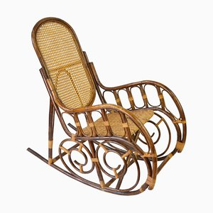 Mid-Century Rattan Rocking Chair, 1960s