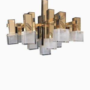 Lampadario con 13 luci di Gaetano Sciolari, anni '80