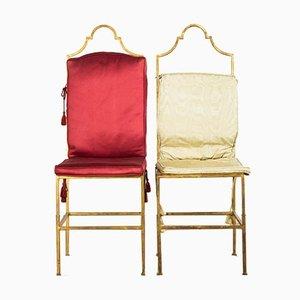 Französische Art Deco Beistellstühle aus vergoldeter Bronze in Boudoir-Optik, 1930er, 2er Set