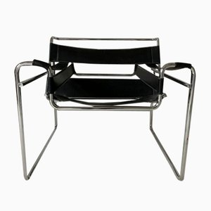 Bauhaus Black Leather B3 Wassily Lounge Chair by Marcel Breuer for Gavina, 1970s