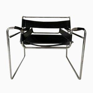 Sillón Wasser B3 Bauhaus de cuero negro de Marcel Breuer para Gavina, años 70
