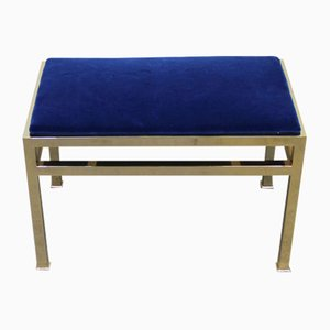 Gilt Metal & Blue Cotton Velvet Bench, 1970s
