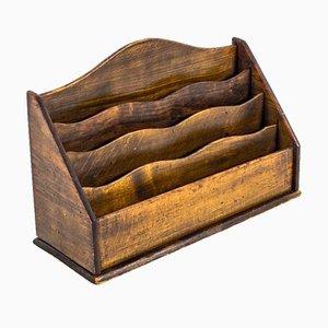 Vassoio da lettere antico in legno, anni '20