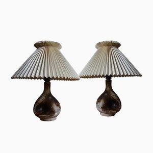 Lampes de Bureau Vintage en Céramique avec Abat-jours Le Klint de Axella, Set de 2