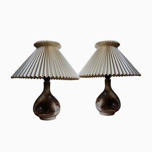 Vintage Ceramic Table Lamps with Le Klint Lampshades from Axella, Set of 2