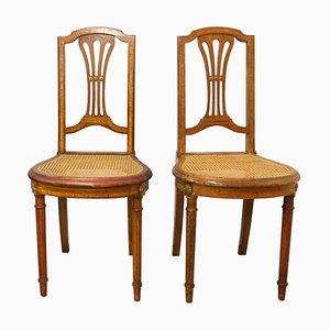 Louis XVI Style French Caned Dining Chairs or Side Chairs, Set of 2