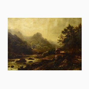 River Landscape with Mountains, Oil on Canvas