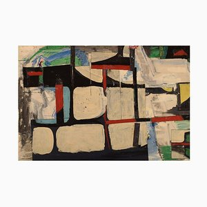 Gösta Fougstedt, Oil on Canvas, Modernist Composition, 1965