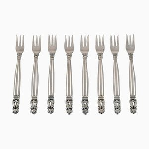 Fourchettes Acorn en Argent Sterling par Georg Jensen, Set de 8