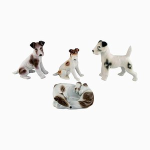 German Porcelain Terrier and Greyhound Figurines, Set of 4