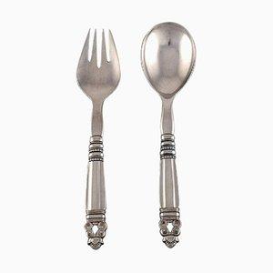 Acorn Salad Set in Sterling Silver by Georg Jensen