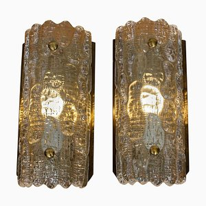 Brass and Crystal Sconces by Carl Fagerlund for Orrefors, 1960s, Set of 2