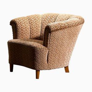Club chair in velluto, anni '40