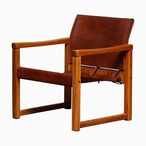 Poltrona modello Diana Safari in pelle color cognac di Karin Mobring per Ikea