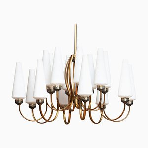 Large Brass Chandelier with Large White Murano Glasses from Stilnovo